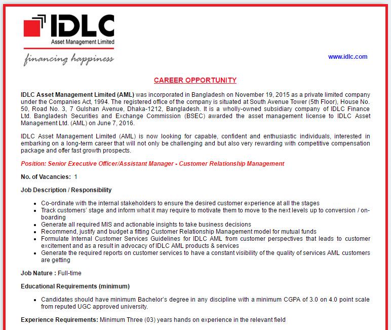 IDLC Asset Management Limited (AML) - Position: Senior