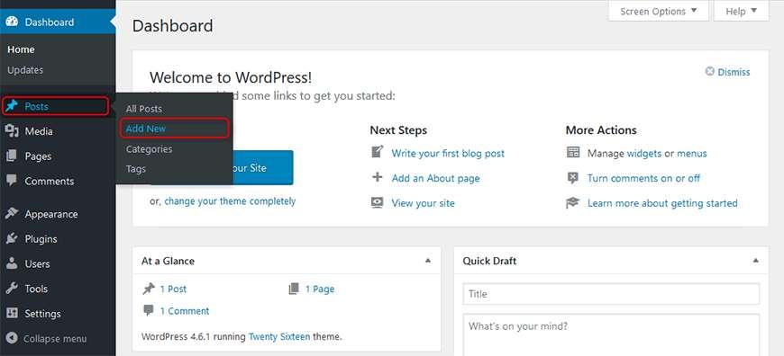 Tambahkan Posting Baru WordPress