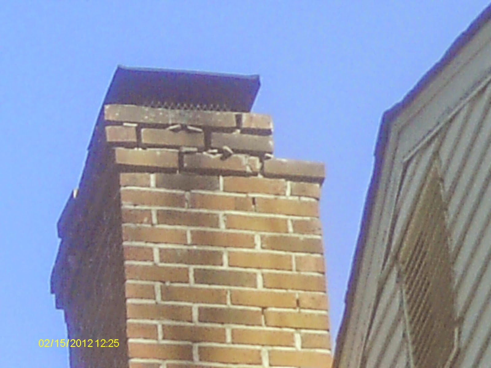 cracked bricks on chimney