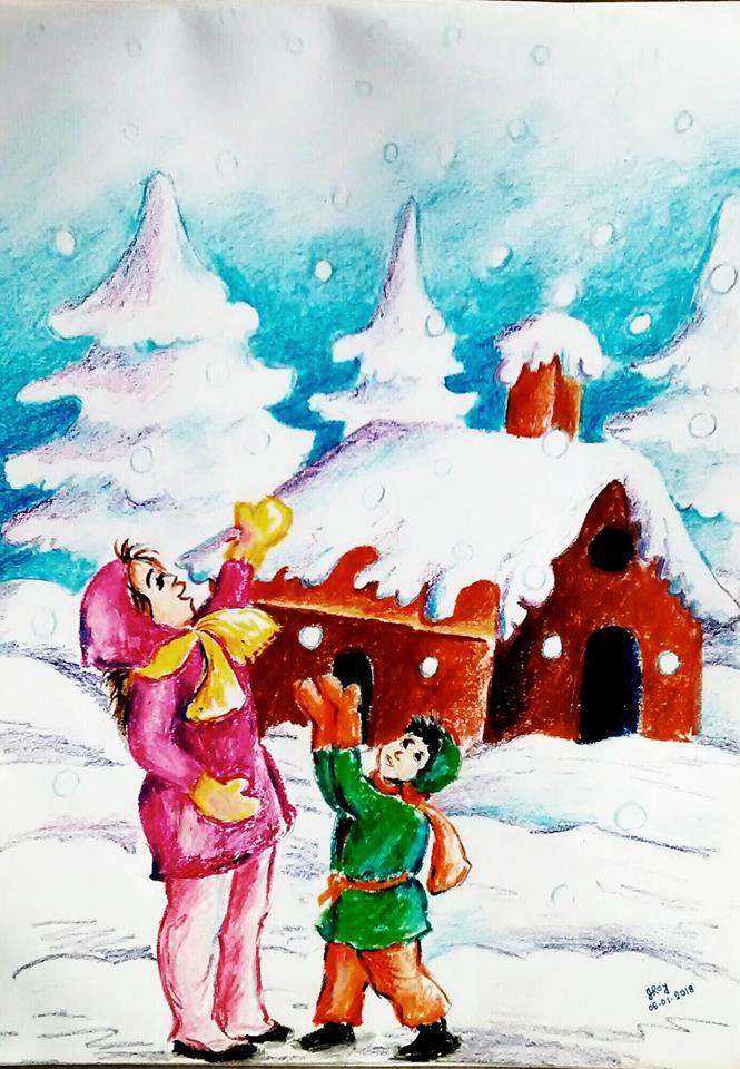 Winter season by pastel color