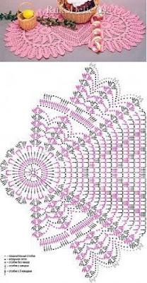 مفرش طاولة كروشيه لون وردي مع الباترون