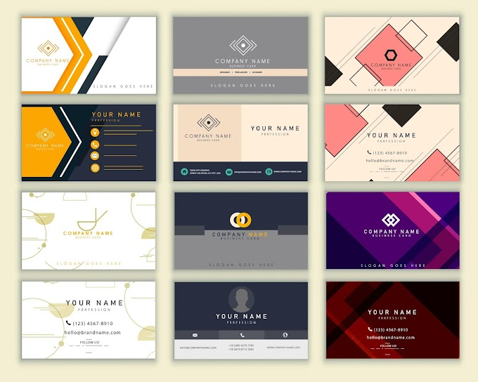 Name cards templates colored modern elegant decor Free vector
