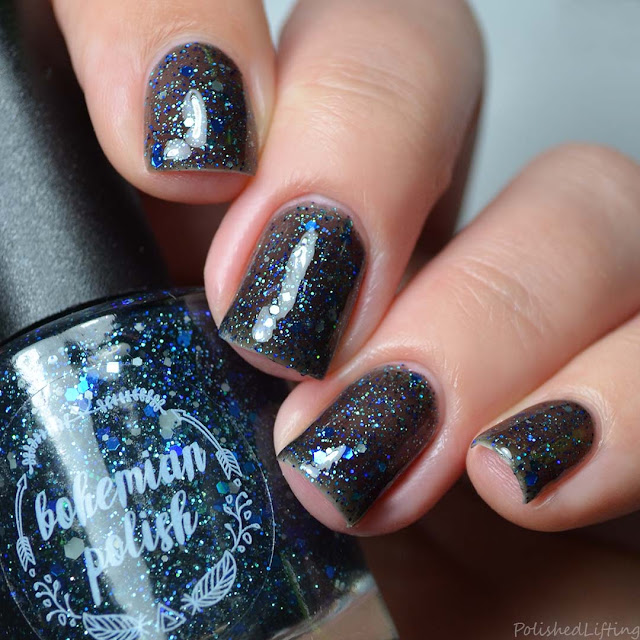 black jelly polish with blue glitter