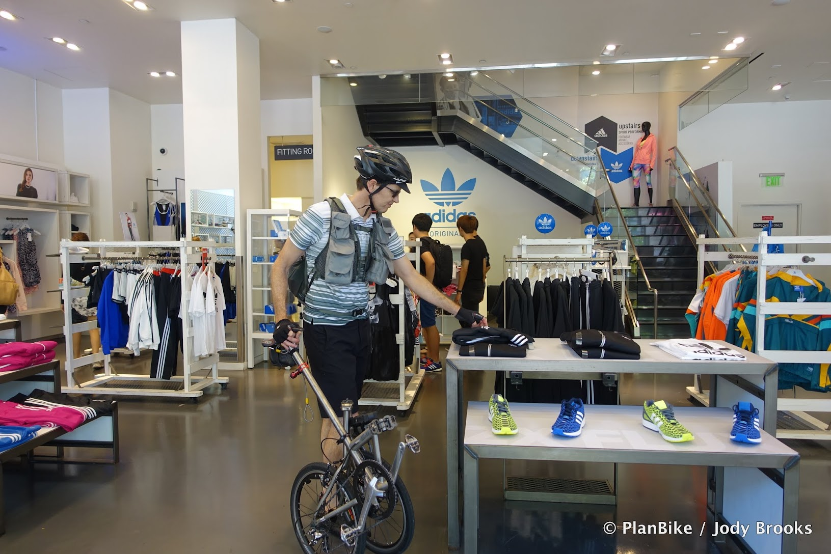 Folding Bikes are welcome in stores.