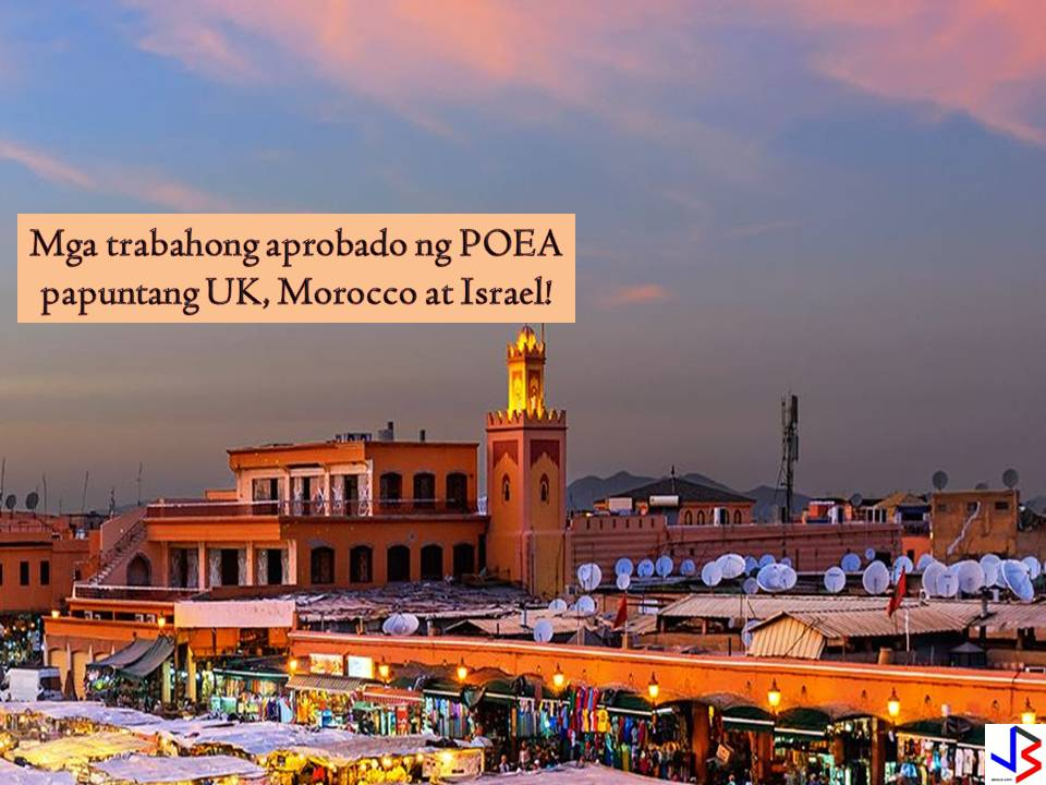 List of Job Opportunities to the United Kingdom, Morocco, and Israel from POEA