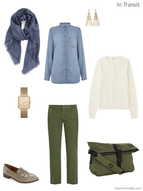 a travel outfit in denim, olive, and ivory