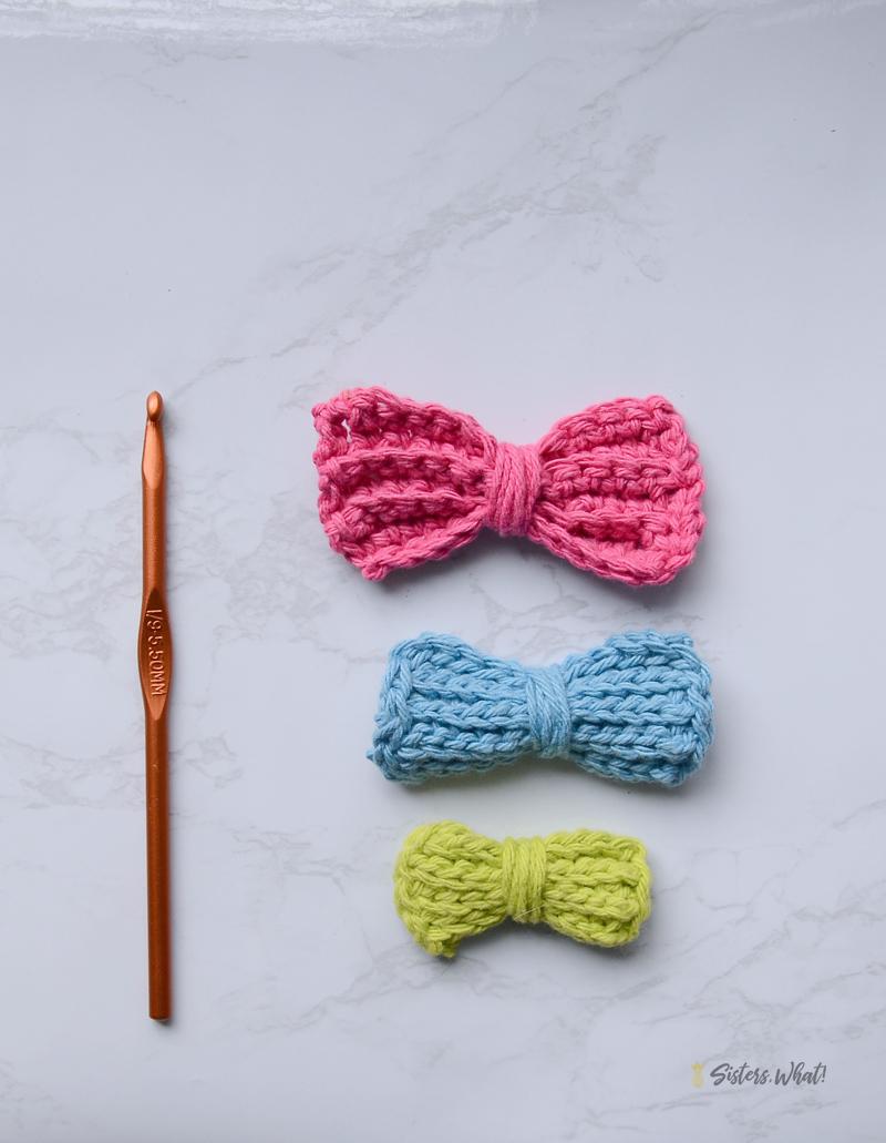 fun modern hair bows crocheted tutorial