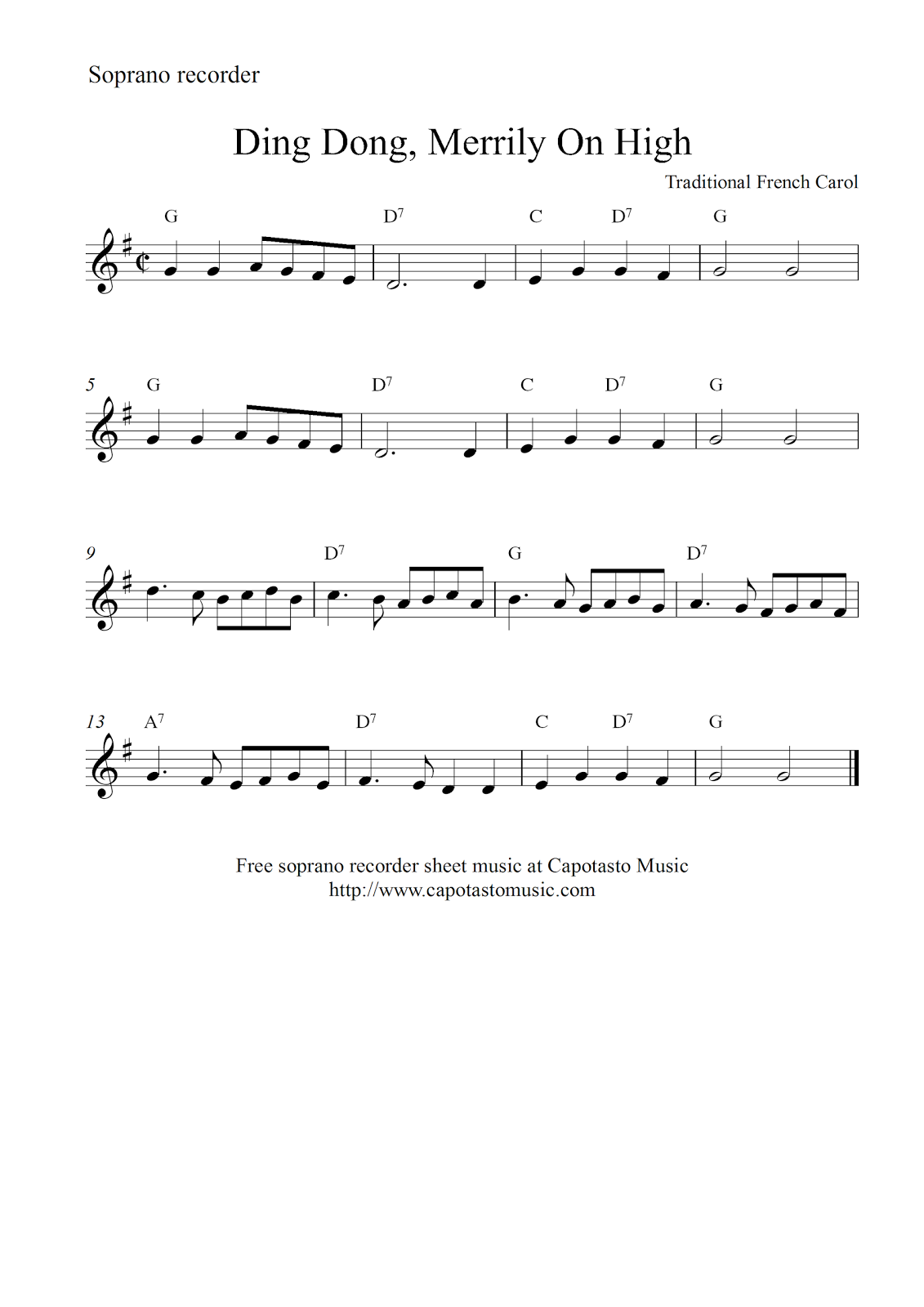 Free Christmas soprano sheet music, Ding Dong, Merrily On High