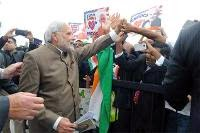 PM Narendra Modi meets his supporters at the Andrews Air Force Base, in Washington, DC.