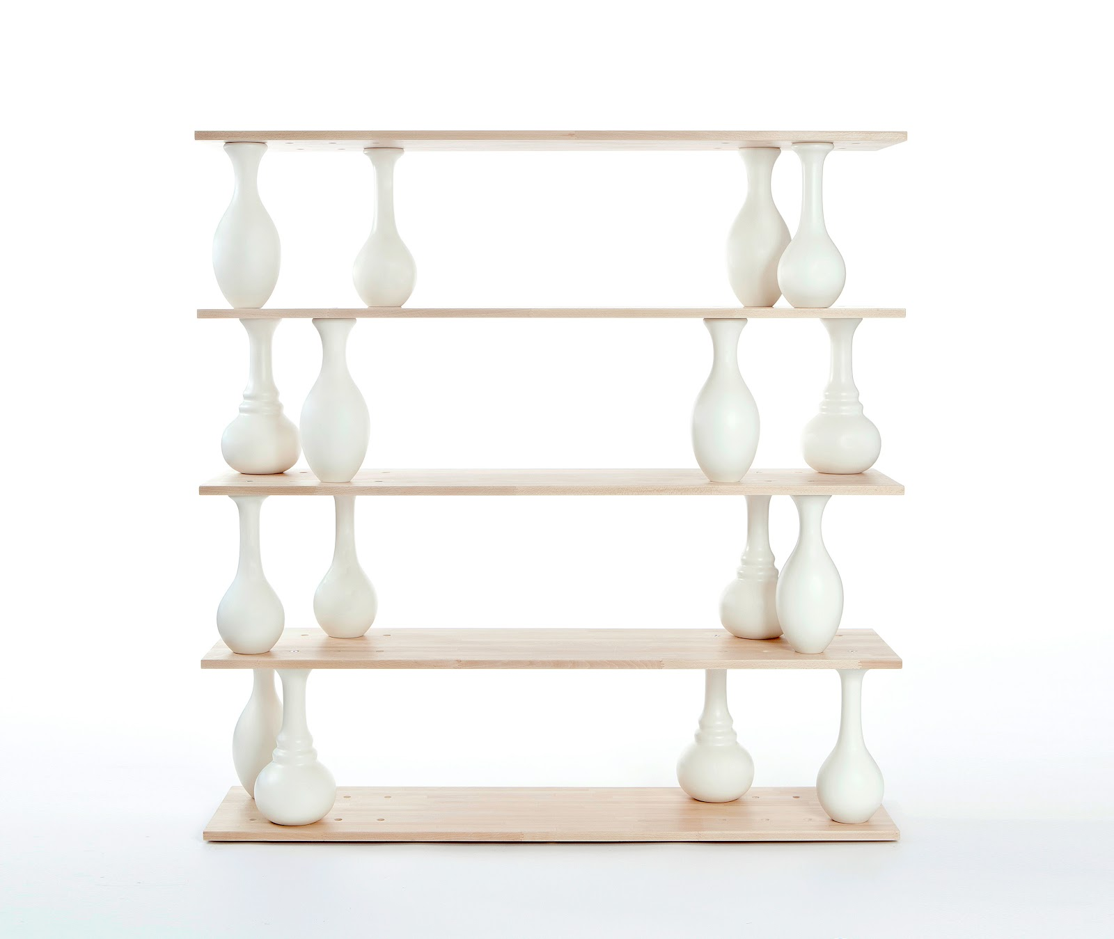 Vase Shelves Is A Modular Shelving System That Is Constructed Of Wood  Planes And Vase Shaped Lathed Wood Elements, That Serve As Connectors  Between One ...