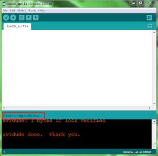 done uploading bootloader