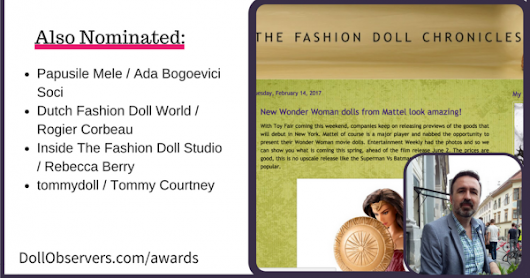 The Fashion Doll Chronicles won Best Fashion Doll Blog award at Doll Observers Fashion Doll Awards 2017! Also announcing a major move