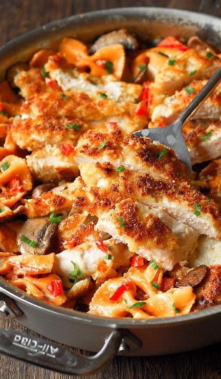 Louisiana Chicken Pasta – Parmesan Crusted Chicken In A Spicy New Orleans Sauce
