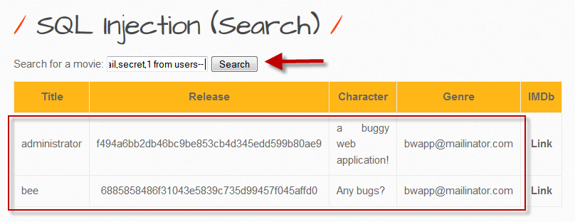 ITSEC Games: bWAPP - SQL injection