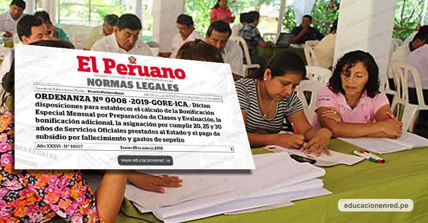 Maestros podrán cobrar deuda social sin sentencia judicial y ordenan a las UGEL de Ica realizar el cálculo respectivo (ORDENANZA Nº 0008-2019-GORE-ICA)