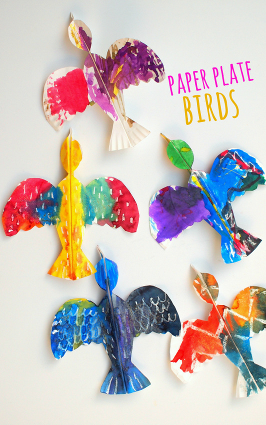 Colorful paper plate birds and our favorite bird books for Arts and crafts style prints