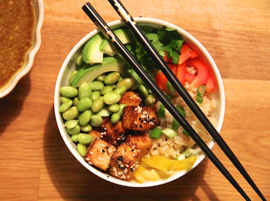 whole grain bowl with sweet sesame ginger dressing