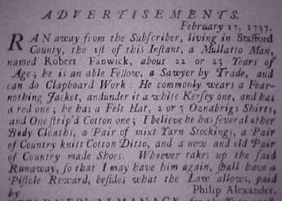 Runaway slave advertisement, February 17, 1737 – Philip Alexande