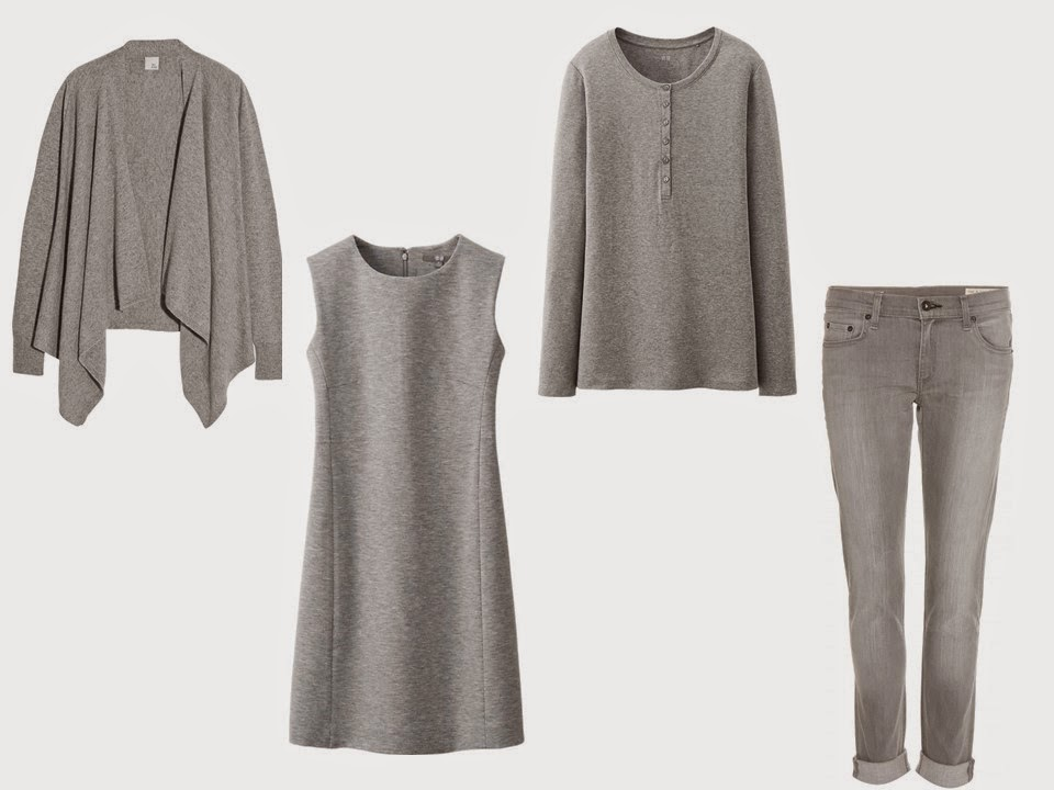 A grey Core of Four of a cardigan, dress, henley tee and jeans