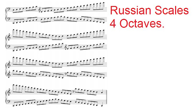 C major 4 octaves Russian Scale for Grade 8 Piano