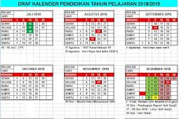 Kalender Pendidikan Tahun Pelajaran 2018/2019 SD,SMP,SMA,SMK Seluruh Indonesia