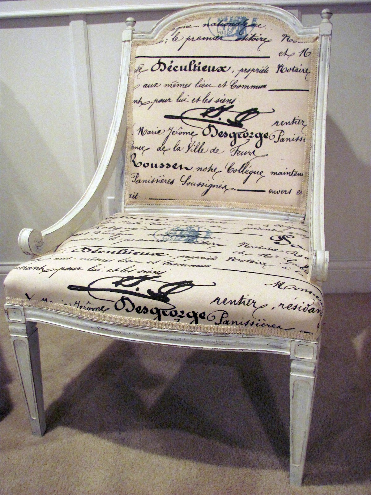 French Script Chair Header From Shabby To Chic