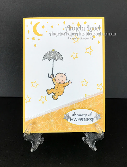 Stampin' Up! Moon Baby stamp set card by Angela Lovel, Angela's PaperArts