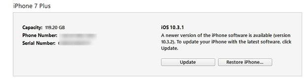 iOS 10.3.1 restore