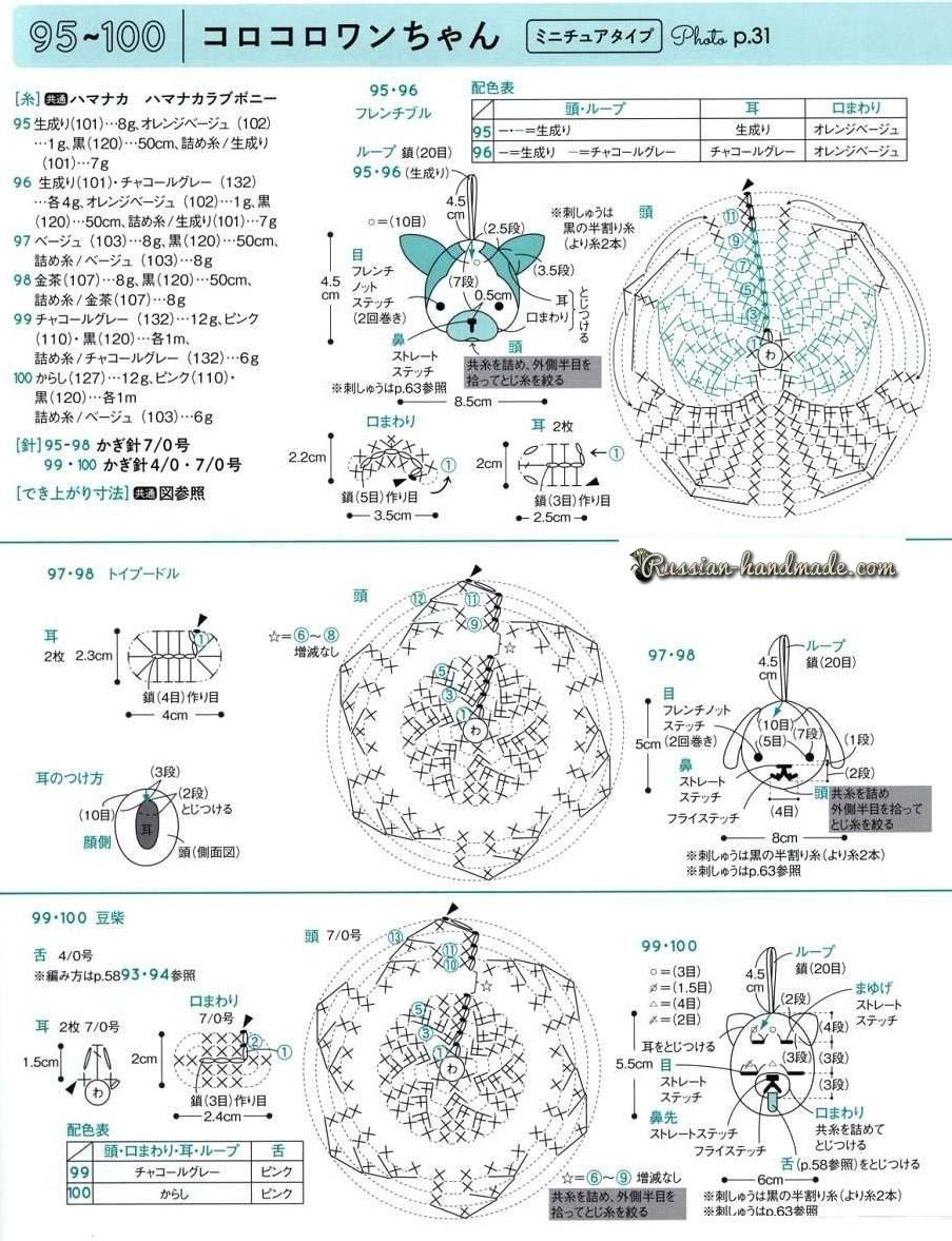 Собачки амигуруми. Схемы вязания крючком миниатюрных игрушек (2)