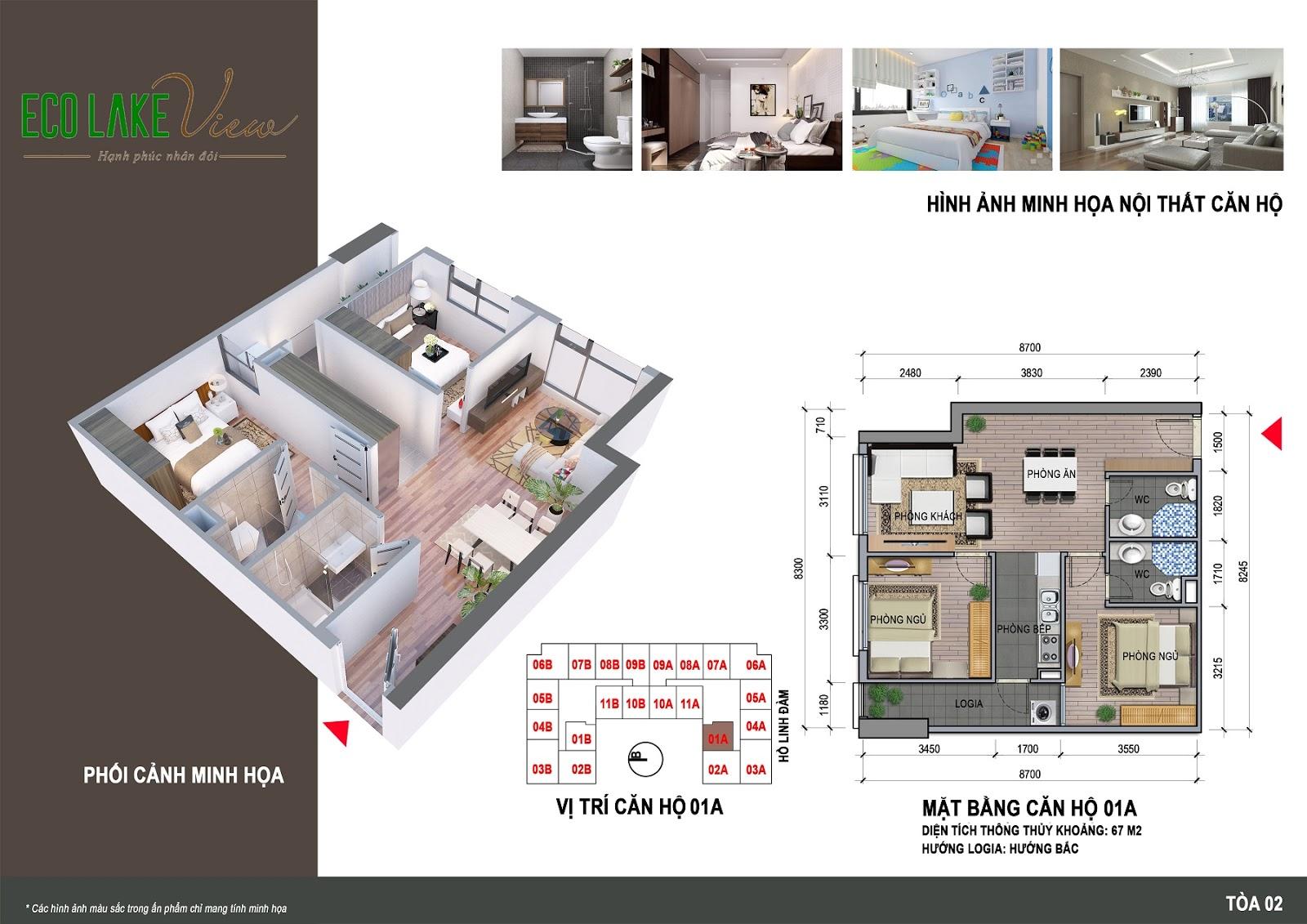 Thiết kế căn hộ 01A - 67m - HH02 Eco Lake View