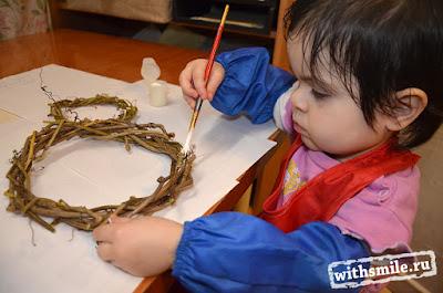 Snowman wreath kids craft. Венок Снеговик - детская зимняя поделка