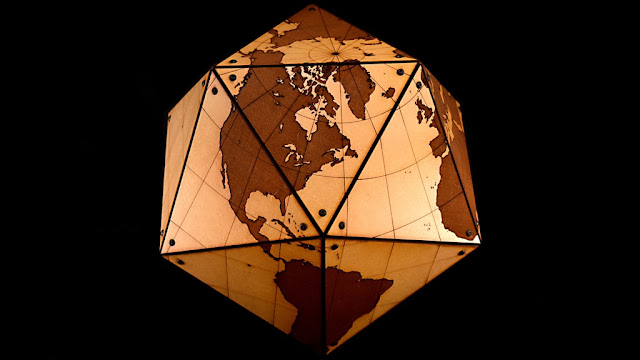 Icosa-World Laser Engraved Globe