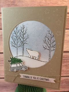 This winder/Christmas card uses Stampin' Up!'s White Christmas stamp set and the Circles Collection Framelits.