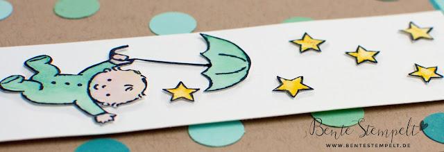 Stampin' Up! Moon Baby Babykarte Card Aquarellstifte Watercolor Pencilssterne Stars Umbrella Regenschirm Geburt Taufe erster Geburtstag