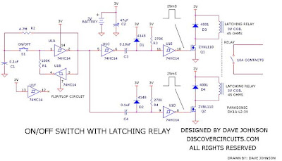 Latching-Relay-On-Off-Switch-Circuit  Pin Latching Relay Wiring Diagram on light switch double pole wiring diagram, latching relay circuit diagram, 8-pin relay retainer, latching control diagram, 8-pin ice cube relay, 12 volt latching relay diagram,