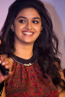 Keerthy Suresh in Maroon Color Dress with Cute and Awesome Lovely Chubby Cheeks Smile 1
