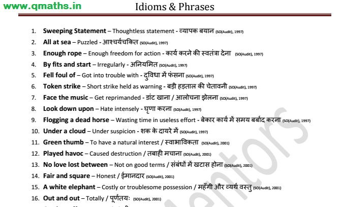 Idioms and Phrases asked in SSC Exams till 2016 (with Hindi