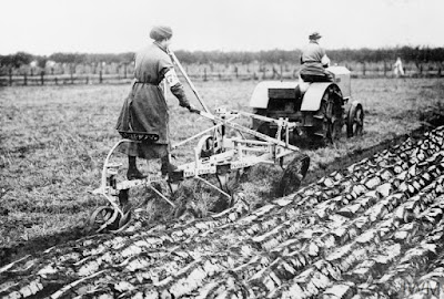 Members of the Women's Land Army operating a three-furrow plough with a tractor. IWM Non-Commercial Licence © IWM (Q 54602)
