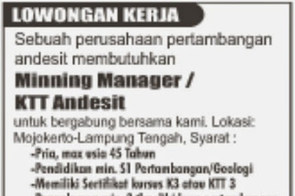 Lowngan Kerja PT. Bumi Waway - Wayhalim Bandar Lampung