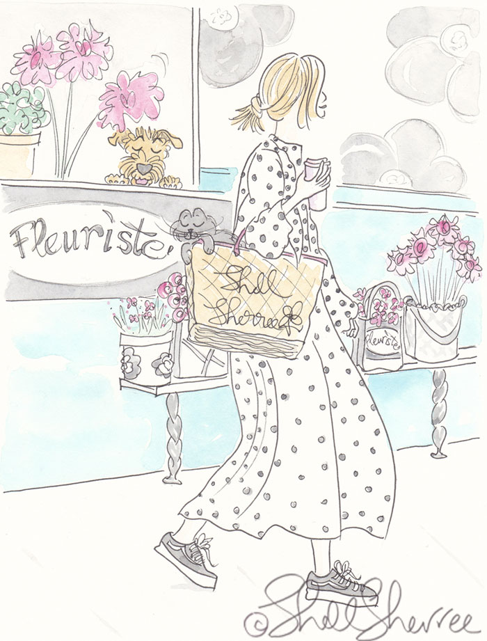 Going Dotty at a Paris Flower Shop, Airedale Dog and Black Cat - Paris fashion illustration © Shell Sherree all rights reserved