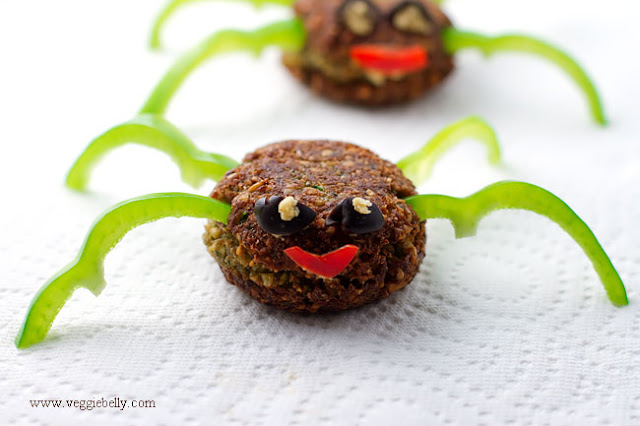 Vegan Halloween Falafel Spiders #veganhalloweensnack