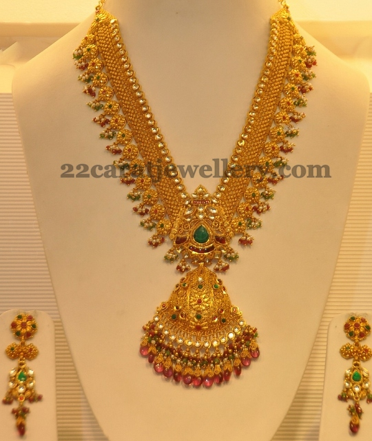 Latest Indian Gold Jewellery Sets Designs For Bridal 2016: Antique Bridal Haram With Hangings