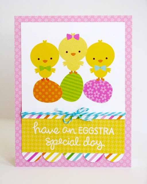 Doodlebug Easter Parade & Lawn Fawn Happy Easter Chicks Quick & Easy Card by Mendi Yoshikawa.