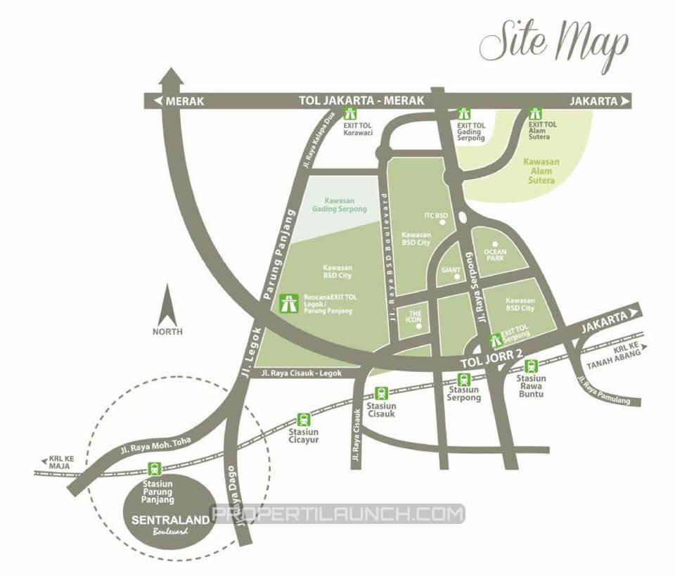 Peta Lokasi Sentraland Boulevard