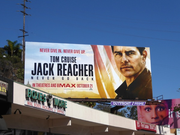 Jack Reacher Never Go Back movie billboard