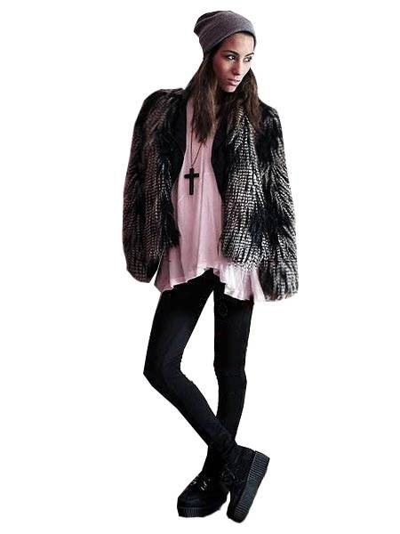 Alternative fashion grunge faux fur ideas cross necklace creepers