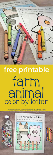 Farm Animal ABCs Search with FREE Color by Letters Activity - this is such a fun activity for preschool, prek, kindergarten to practice alphabet letters and refine motor skills while having fun learning.