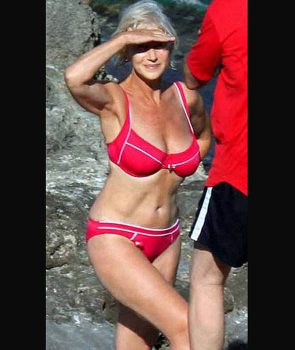 Helen Mirren  shows that a mature woman can look great in a bikini. Image: Daily Express