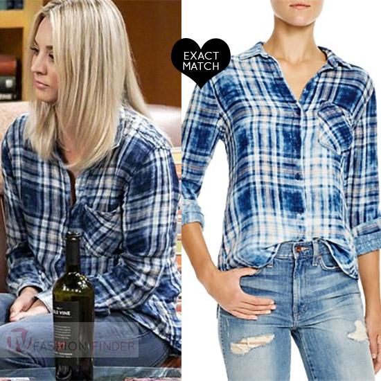 Kaley cuoco as penny in blue plaid shirt on the bing bang for Bella dahl plaid shirt