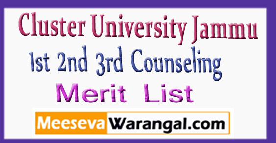 Cluster University Jammu 1st 2nd 3rd Counseling Merit List 2018